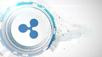 ripple cryptocurrency icon animation white digital elements technology background video