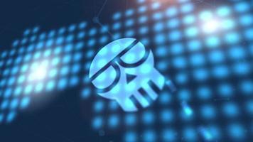 estafa criptomoneda icono animación azul mundo digital mapa tecnología fondo