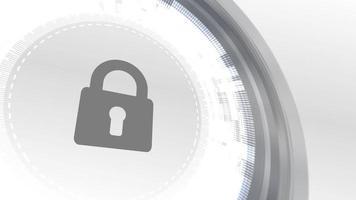 padlock security icon animation white digital elements technology background video