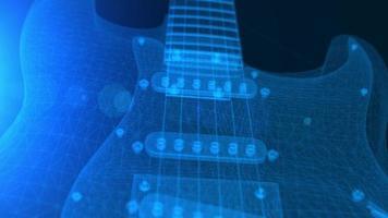 animação de uma guitarra elétrica 3d em wireframe azul video