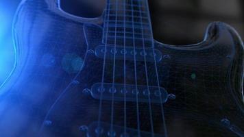 animación de una guitarra eléctrica 3d de estructura metálica azul