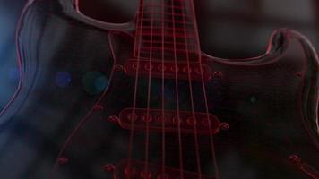 animação de guitarra elétrica 3d wireframe vermelha video