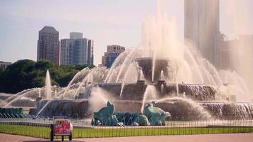 Buckingham Memorial Fountain With Skyscrapers In Chicago