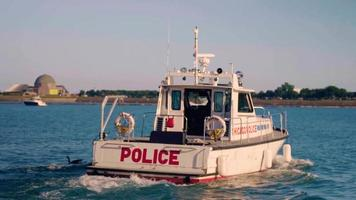 Police Patrol Boat In Monroe Harbor Chicago