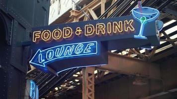 Neon Sign Of Food And Drink In Chicago video