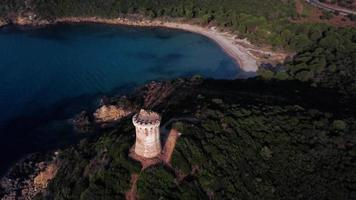 Drone flying over Genoese tower in 4K