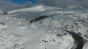 Drone footage over mountain in winter