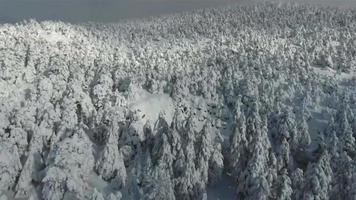 Drone over snowy mountain in winter