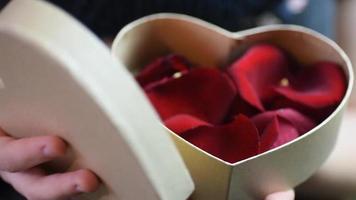 cadeau de la Saint-Valentin. jeune fille ouvrant une boîte cadeau coeur avec des pétales de rose video