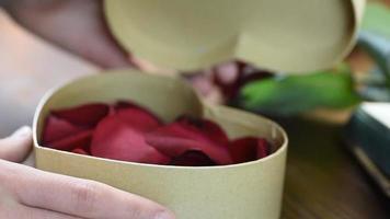 presente de dia dos namorados. jovem abrindo caixa de presente de coração com pétalas de rosa video