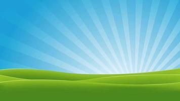 animación de paisaje de primavera verde y azul