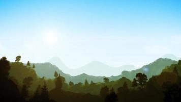 clip de fondo de paisaje de montañas de verano