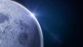 Side Moon On Blue Space Background