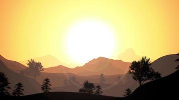 Fondo de paisaje de viaje de montañas 2d