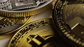 Rotating shot of Bitcoins (digital cryptocurrency) - BITCOIN MIXED 080