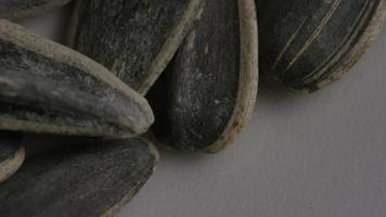 ripresa cinematografica rotante di semi di girasole su una superficie bianca - semi di girasole 008 video