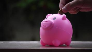 mano mettendo le monete in un salvadanaio rosa, concetto di risparmio di denaro video