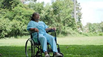 Anciana discapacitada solitaria sentada en silla de ruedas sola en el parque video