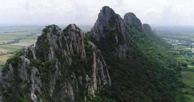 Aerial View flying over mountain in Thailand video