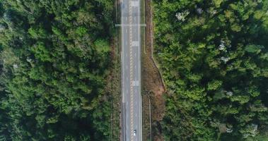 Aerial view country road in forest