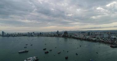 Aerial view Flying over Pattaya beach in Thailand