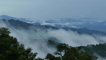 hermosas montañas llenas de niebla.