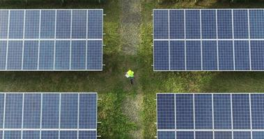 Aerial view of Engineering checking Solar cell Farm video