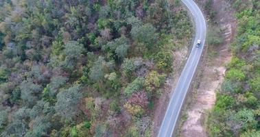 Toma aérea de la conducción de automóviles a través de la carretera forestal
