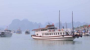 View of Halong Bay Cruise ship in Quang Ninh, Halong Bay, Vietnam.