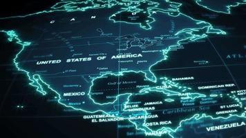 fondo de tecnología de viajes de mapa mundial video