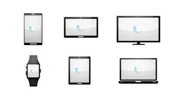 ensemble d & # 39; icônes de technologie de chargement de plusieurs appareils