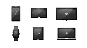 vários dispositivos carregando ícones de tecnologia video