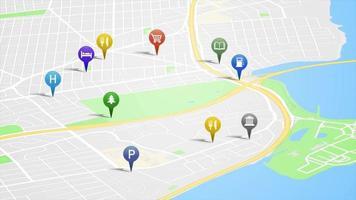 mappa di app per smartphone con loop di animazione perni gps video