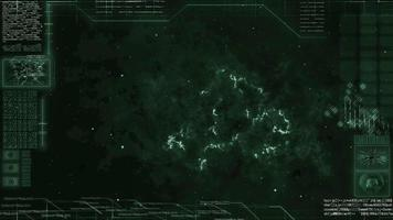 Screen of spaceship driving through galaxy with nebula video