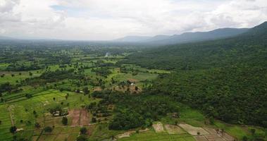 vista aérea, plano amplio, punto de vista, montaña, con, frondoso, árboles