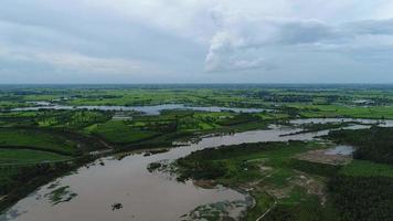 vista aérea da área agrícola da Tailândia.