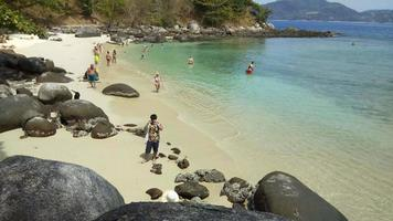 Time lapse of beautiful white sand beach in Phuket , Thailand video