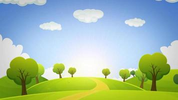 bucle de animación de paisaje de dibujos animados de primavera o verano