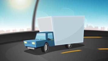 coche de dibujos animados conduciendo en la carretera de la ciudad