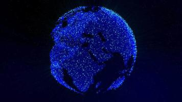 Blue globe made of particles