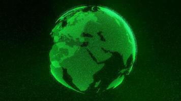 Green globe made of particles