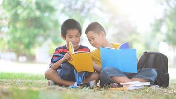 dos niños leyendo y haciendo la tarea juntos. video