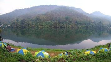 Camping tent near the river Kwai Kanchanaburi, Thailand