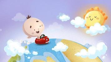 Baby driving a toy car across the world