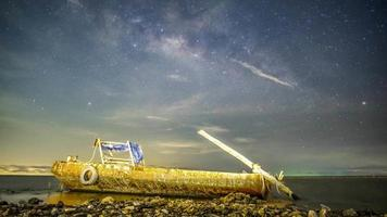 Milky Way behind a Boat video