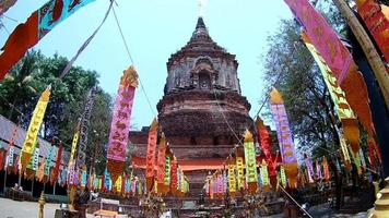 wat lokmolee tempel in chiang mai, thailand (door fisheye lens)