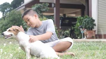 Boy playing with his dog sitting on the grass