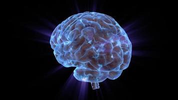 cerebro humano giratorio cargado eléctricamente
