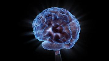 um cérebro humano em rotação carregado eletricamente com o pensamento