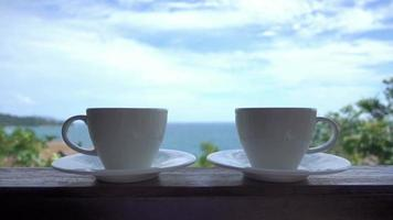 Coffee Cups with Outdoor View